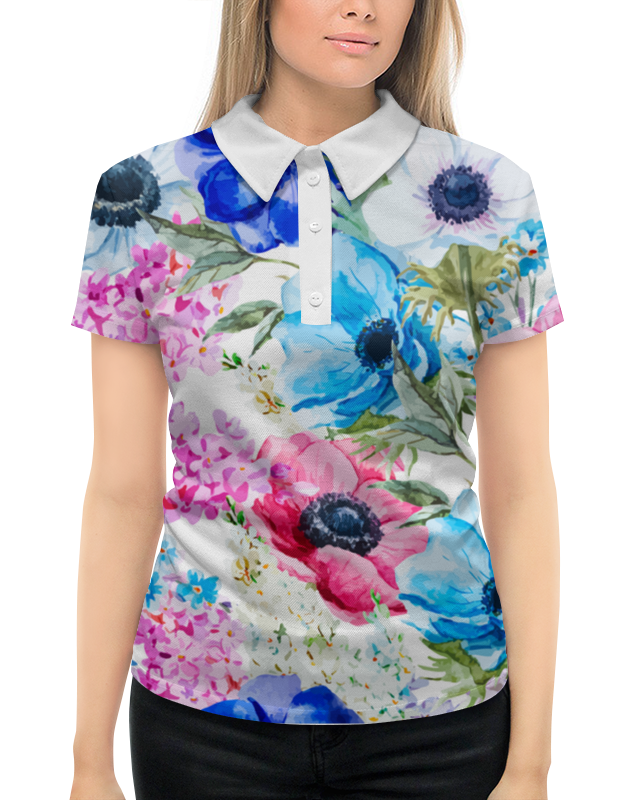 Рубашка Поло с полной запечаткой Printio Фиалки сиденье вариант фиалки