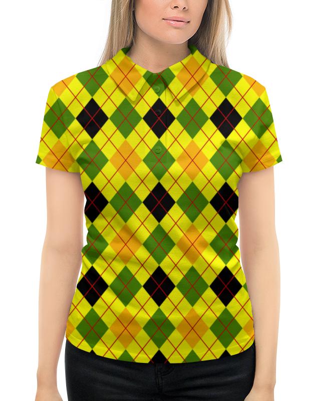 Рубашка Поло с полной запечаткой Printio Клетка желтая
