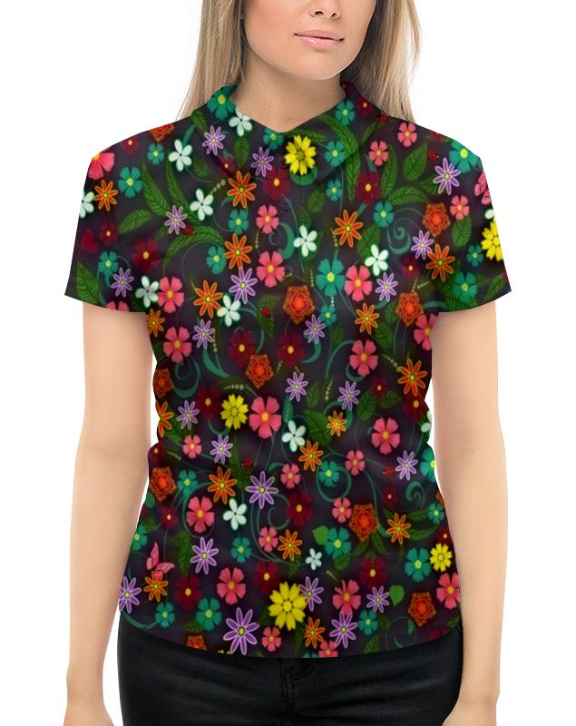Рубашка Поло с полной запечаткой Printio Весенние цветы