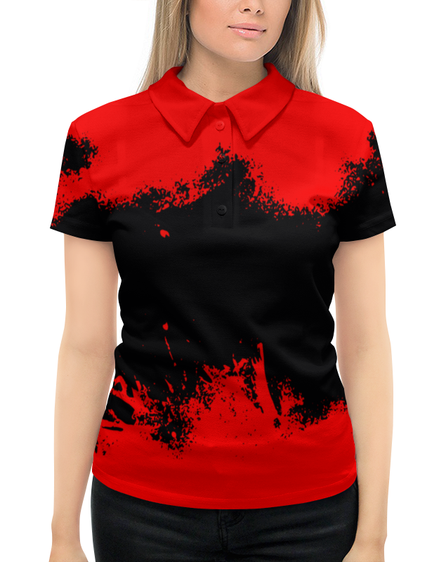 Рубашка Поло с полной запечаткой Printio Черно-красные краски поло print bar линии краски