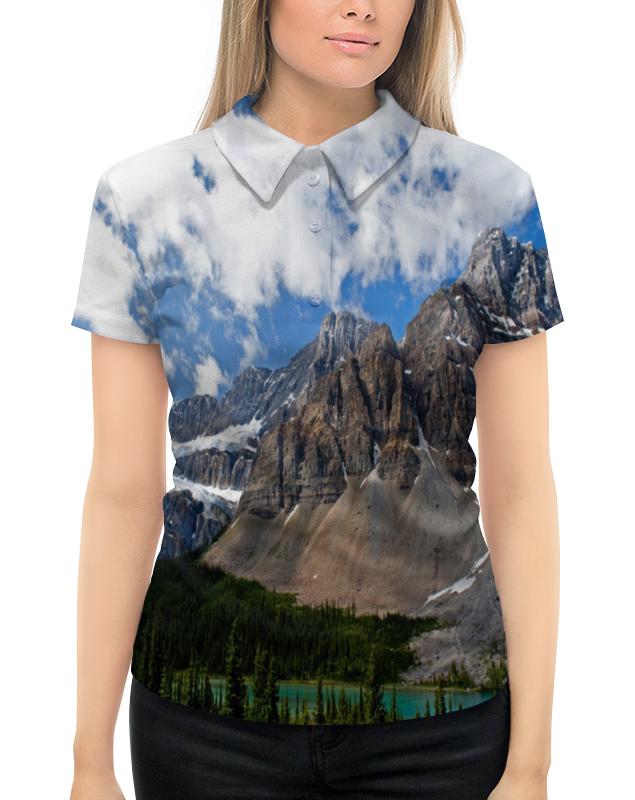 Рубашка Поло с полной запечаткой Printio Лес и горы