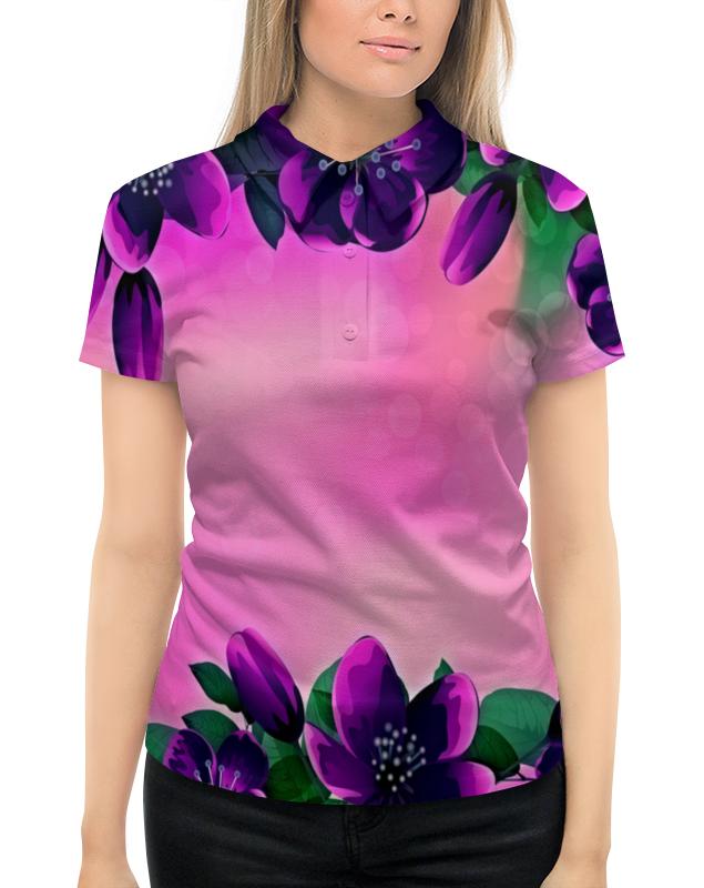 Рубашка Поло с полной запечаткой Printio Фиолетовые цветы