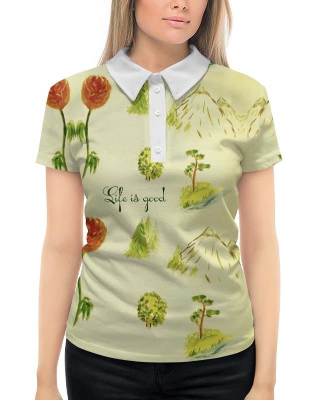 Рубашка Поло с полной запечаткой Printio Горы, сосны и цветы шишку сосны