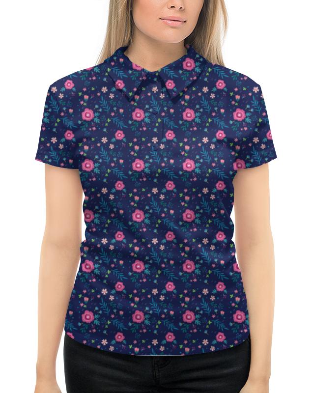Рубашка Поло с полной запечаткой Printio Цветы