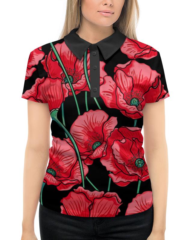 Рубашка Поло с полной запечаткой Printio Красные маки фартук с полной запечаткой printio красные маки