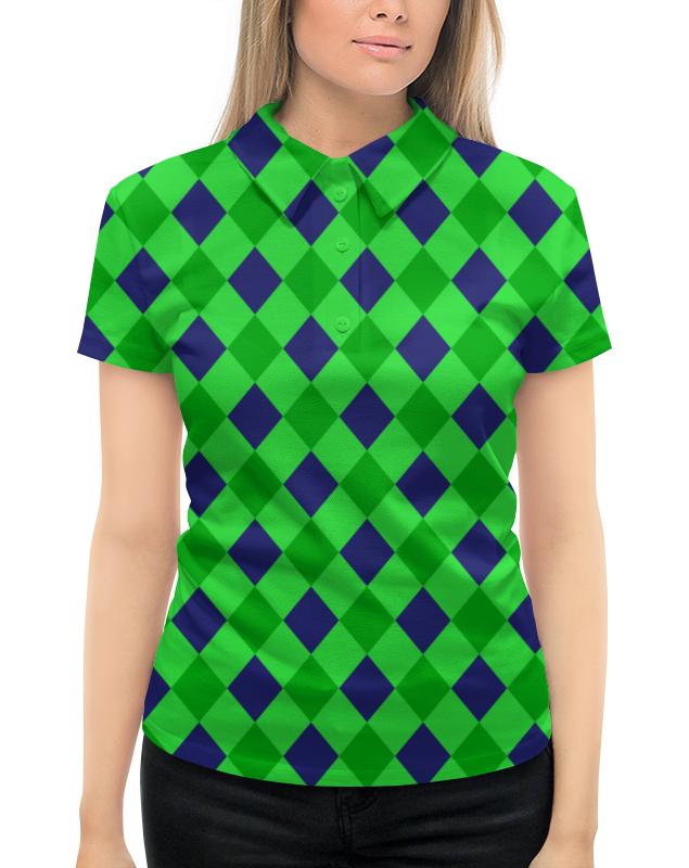 Рубашка Поло с полной запечаткой Printio Сине-зеленые квадраты платье с рукавами printio сине зеленые квадраты