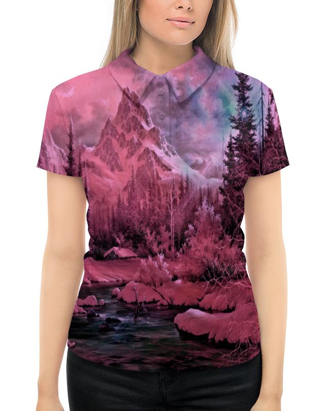 Рубашка Поло с полной запечаткой Printio Розовый пейзаж рубашка dress in klingel цвет белый розовый хаки рисунок