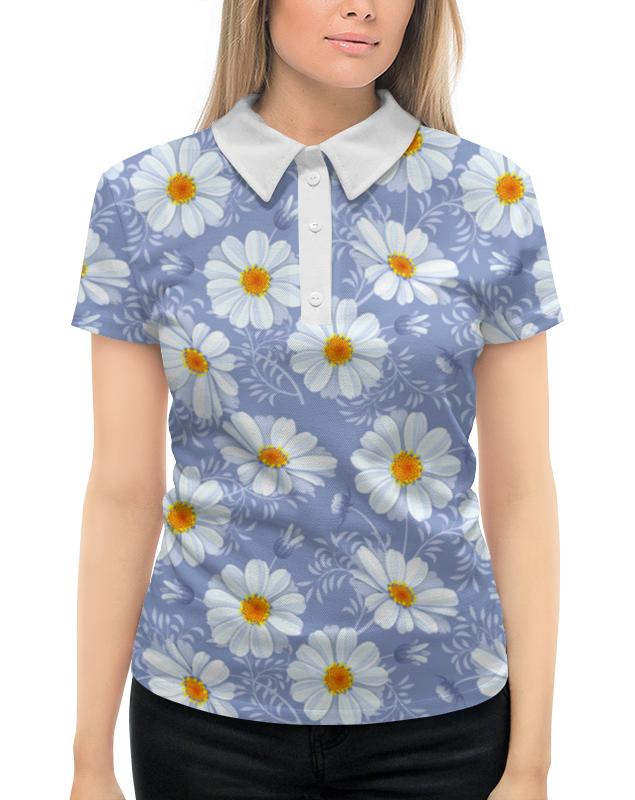 Рубашка Поло с полной запечаткой Printio Ромашки