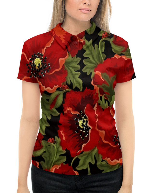 Рубашка Поло с полной запечаткой Printio Полевые маки поло print bar маки