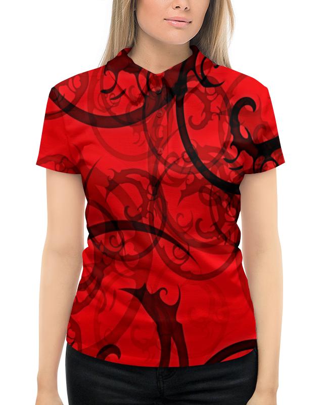 Рубашка Поло с полной запечаткой Printio Черно-красный узор