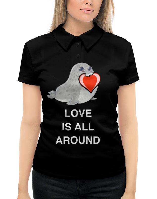 Рубашка Поло с полной запечаткой Printio Love. тюлень. любовь.