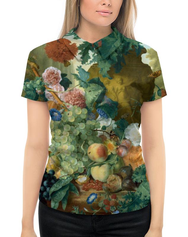 Рубашка Поло с полной запечаткой Printio Фрукты и цветы (ян ван хёйсум) фартук с полной запечаткой printio цветы ян ван хёйсум