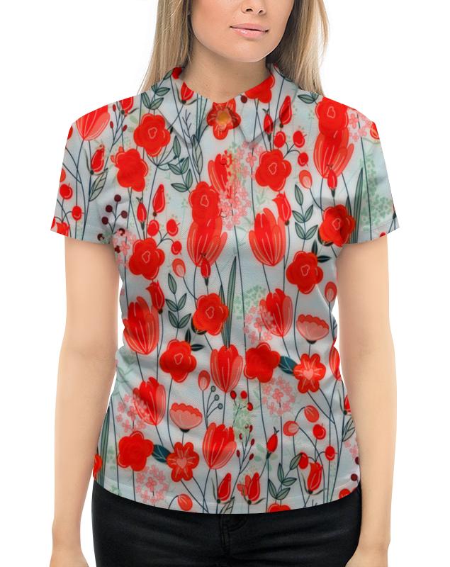 Рубашка Поло с полной запечаткой Printio Красные цветы майка классическая printio ловец снов