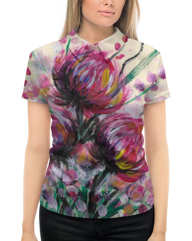Рубашка Поло с полной запечаткой Printio Розовые хризантемы