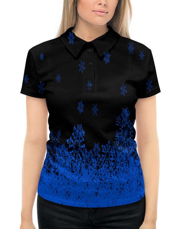 цена на Рубашка Поло с полной запечаткой Printio Синие снежинки