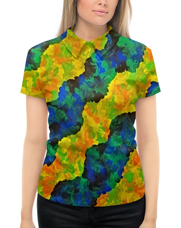 Рубашка Поло с полной запечаткой Printio Желто-синие волны рубашка поло с полной запечаткой printio волны психоделика