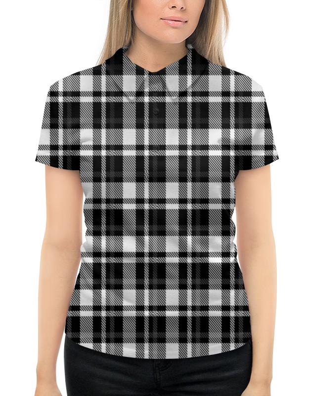 Рубашка Поло с полной запечаткой Printio Черно-белая клетка