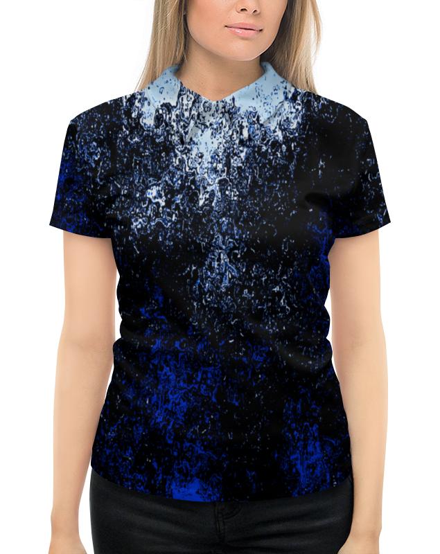 Рубашка Поло с полной запечаткой Printio Черно-синие брызги