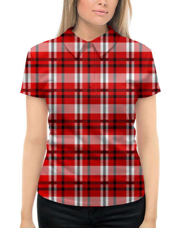 все цены на Рубашка Поло с полной запечаткой Printio Красная клетка