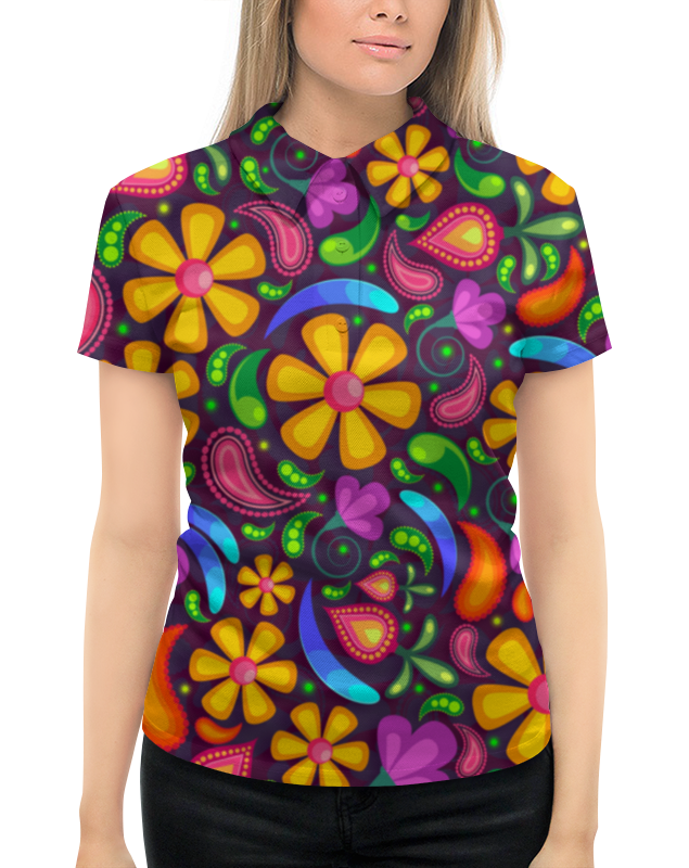 Рубашка Поло с полной запечаткой Printio Цветочное настроение