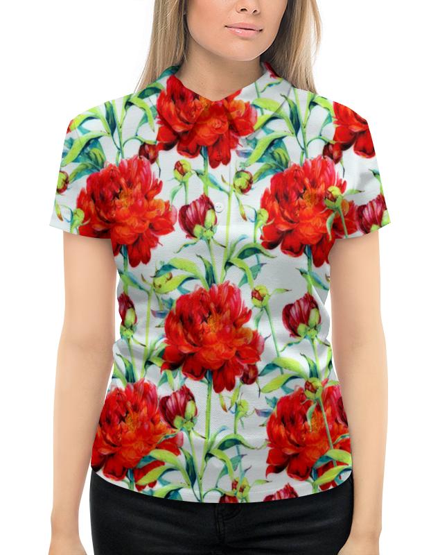 Рубашка Поло с полной запечаткой Printio Пионы