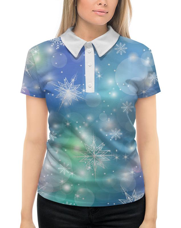 Рубашка Поло с полной запечаткой Printio Снежинка