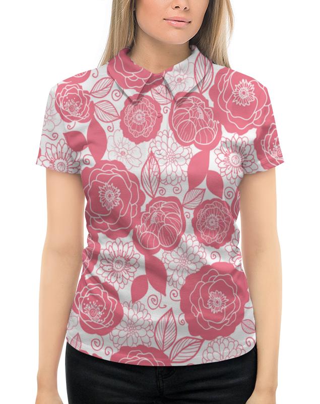 Рубашка Поло с полной запечаткой Printio Бело-розовый узор рубашка dress in klingel цвет белый розовый хаки рисунок