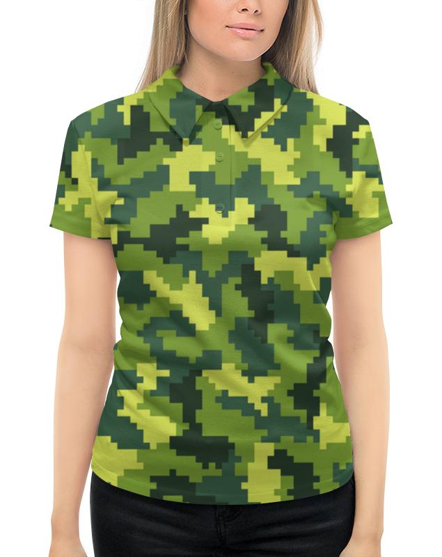 Рубашка Поло с полной запечаткой Printio Зеленый камуфляжный