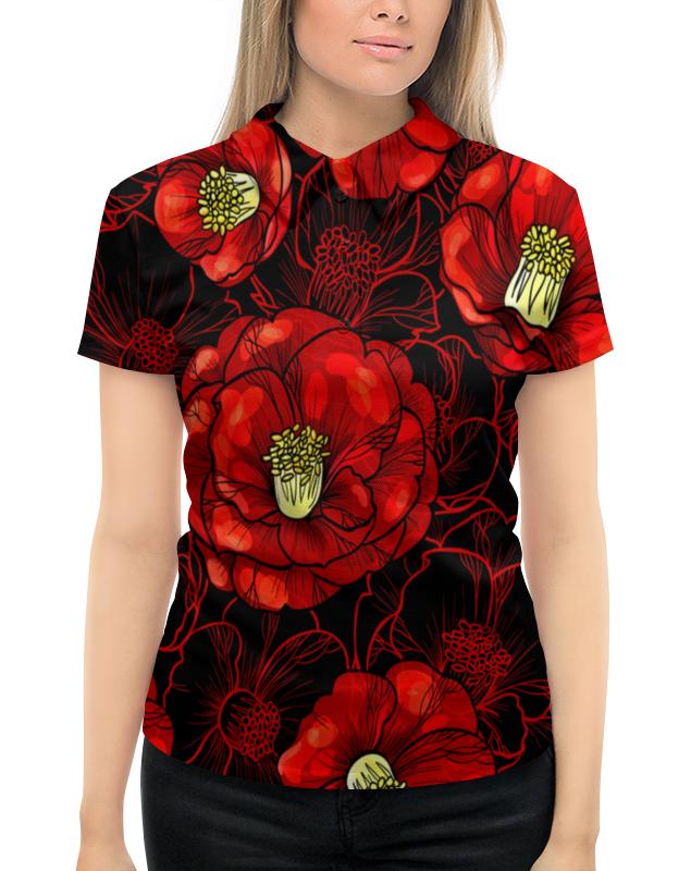 Рубашка Поло с полной запечаткой Printio Цветы мака pupa тени компактные 200 vamp розовый грейпфрут сатиновый 2 5гр