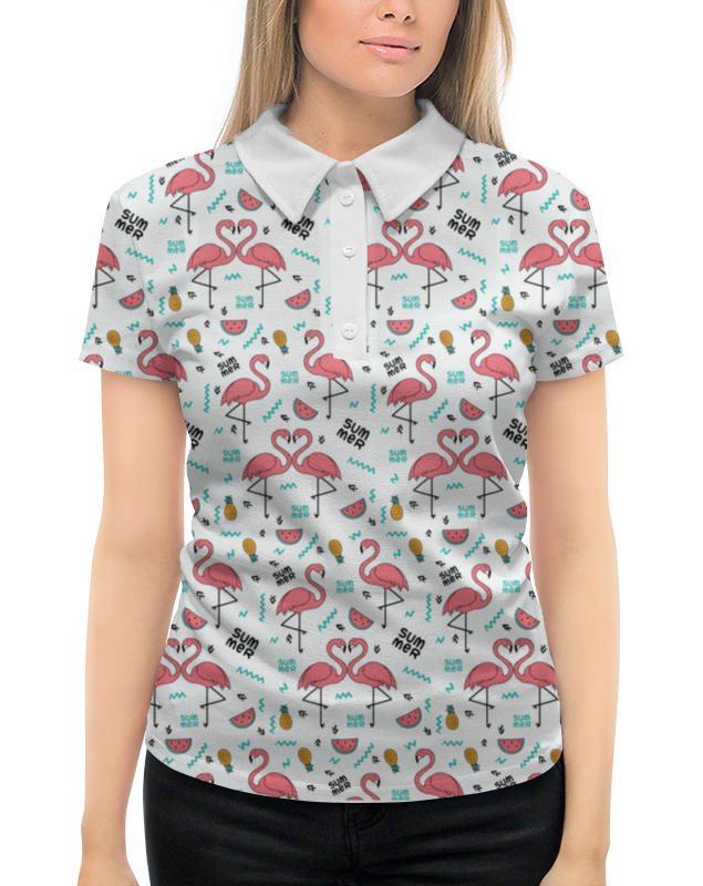 Рубашка Поло с полной запечаткой Printio Фламинго