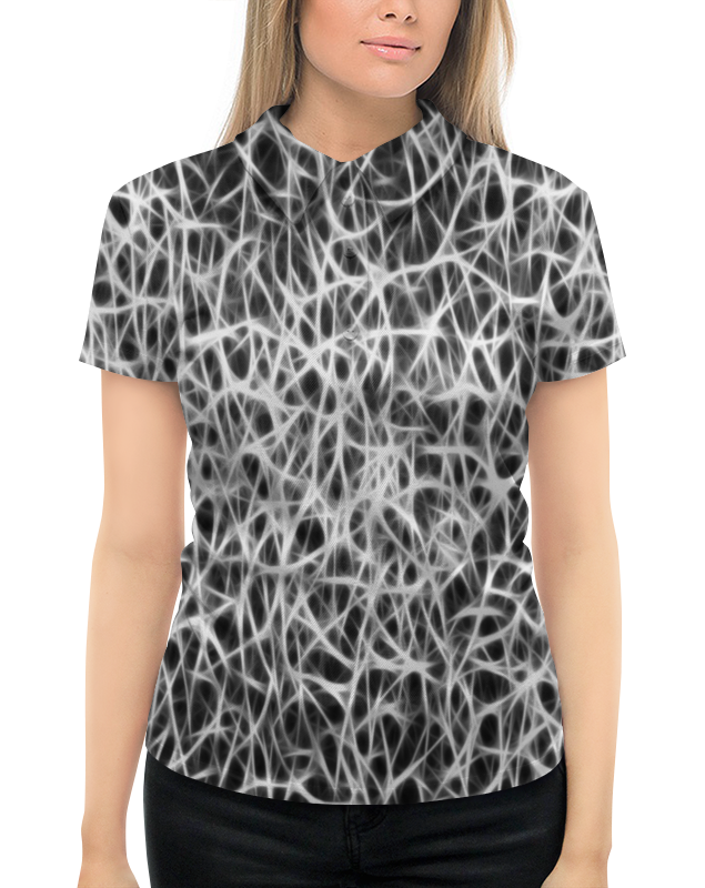 Рубашка Поло с полной запечаткой Printio Черно-белый узор свитшот унисекс с полной запечаткой printio черно белый узор