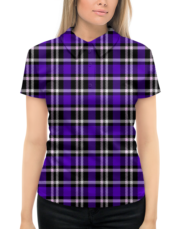 Рубашка Поло с полной запечаткой Printio Синяя клетка mayoral рубашка поло красно синяя в полоску