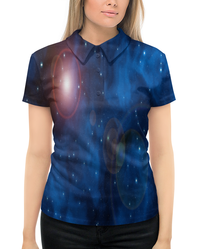 цена на Рубашка Поло с полной запечаткой Printio Вспышки на небе