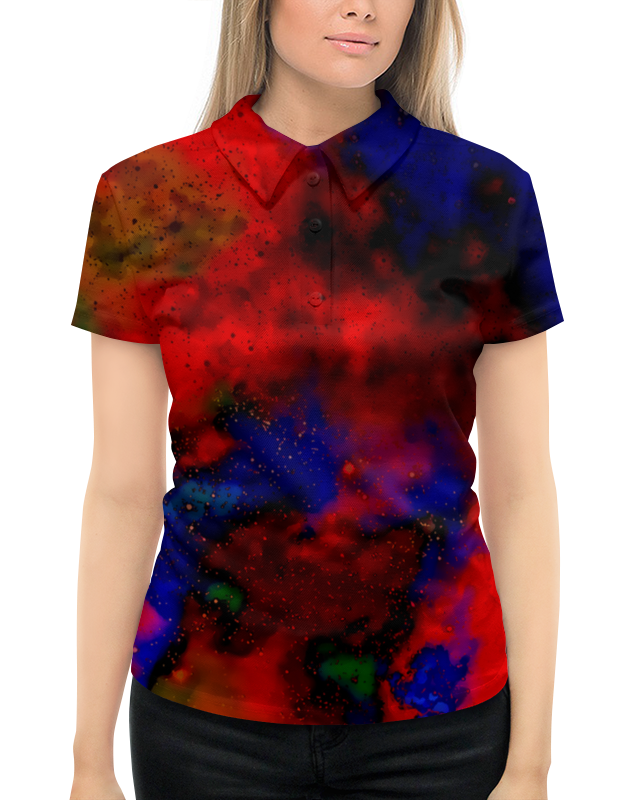 Рубашка Поло с полной запечаткой Printio Красно-синий узор mayoral рубашка поло красно синяя в полоску