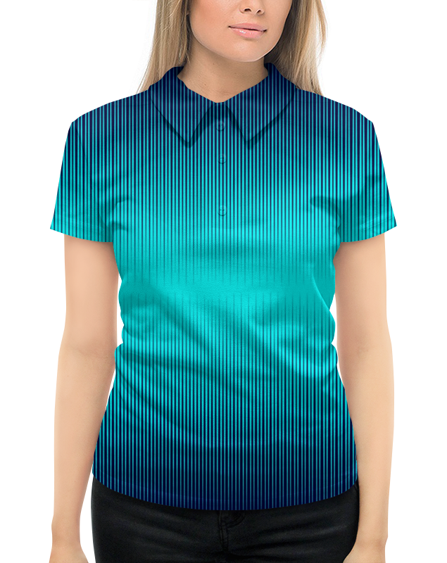 где купить Рубашка Поло с полной запечаткой Printio Синие полосы по лучшей цене