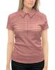 """Рубашка Поло с полной запечаткой """"Женская модель (персиково-вишневая)"""" - девушка, грудь, женщина, геометрия, иллюзия"""