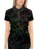 """Рубашка Поло с полной запечаткой """"Абстракция"""" - цвет, абстракция, линии, чёрный фон"""