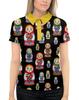 """Рубашка Поло с полной запечаткой """"Матрёшки"""" - чёрный фон, матрёшки, расписная кукла, ярко, красиво"""