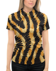 """Рубашка Поло с полной запечаткой """"Тигровый"""" - узор, полосы, тигр, тигровый, звериный"""