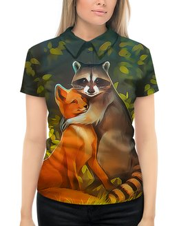 """Рубашка Поло с полной запечаткой """"Обнимашки"""" - жене, любимой, лисенок, мимимишка, енотик"""
