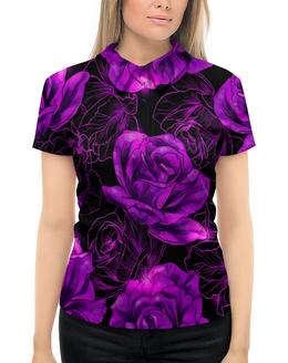 """Рубашка Поло с полной запечаткой """"Розы в цвету"""" - цветы, фиолетовый, весна, цветочки, розы"""