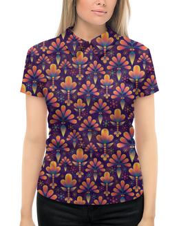 """Рубашка Поло с полной запечаткой """"Фиолетовая абстракция"""" - фиолетовый, абстракция, рисунок, цветы"""