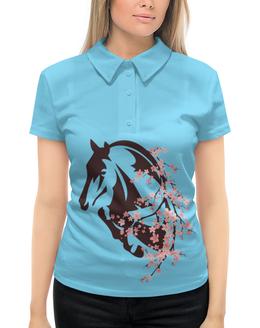 """Рубашка Поло с полной запечаткой """"Лошадь"""" - цветы, лошадь"""