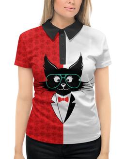 """Рубашка Поло с полной запечаткой """"кот стиляга"""" - кот, стильный, модный, ученый"""