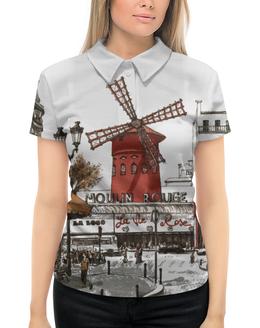 "Рубашка Поло с полной запечаткой ""MOULIN ROUGE. МУЛИН РУЖ"" - франция, мулин руж, париж, кабаре, монмартр"