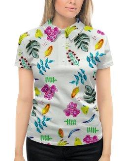 """Рубашка Поло с полной запечаткой """"Фрукты"""" - цветы, фрукты, листья, ягоды, вкусно"""