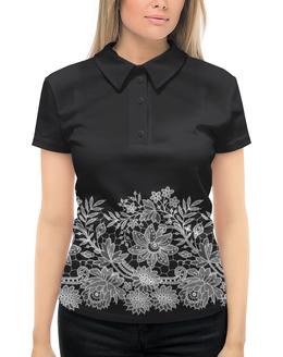 """Рубашка Поло с полной запечаткой """"Цветы"""" - цветы, кружево"""