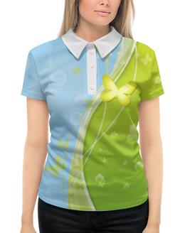"""Рубашка Поло с полной запечаткой """"Летний мотив"""" - бабочки, лето, небо, трава, мыльные пузыри"""