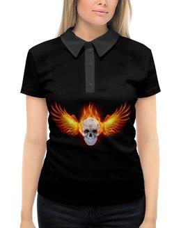 """Рубашка Поло с полной запечаткой """"Череп"""" - череп, огонь"""