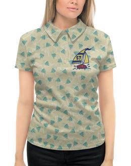 """Рубашка Поло с полной запечаткой """"Кораблик"""" - рыбка, кораблик, пальма, парус, яхта"""
